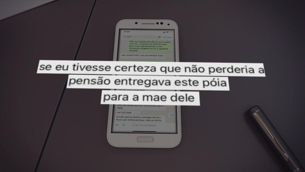 Conversa entre mãe e filhos sobre marido; mensagem foi entregue à Polícia Civil — Foto: Reprodução