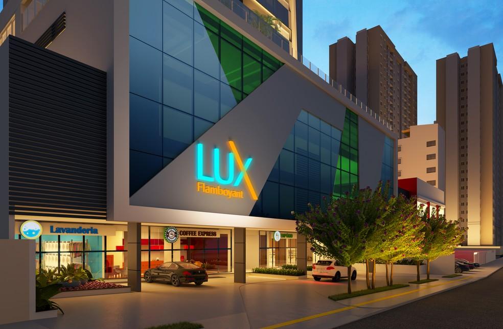 Futuro empreendimento residencial, Lux Flamboyant, com área comercial no térreo, em Goiânia — Foto: Comunicação Sem Fronteiras/Divulgação