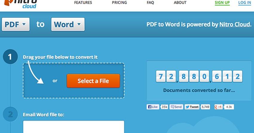 Nitro Cloud converte PDF em documento Word, Excel e PowerPoint