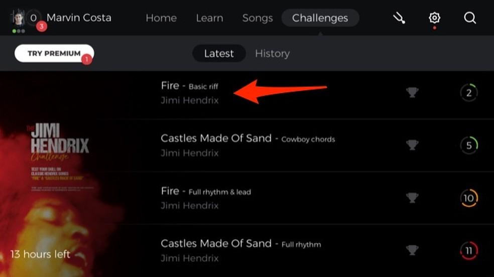 Opção para escolher uma música no desafio semanal do aplicativo Yousician — Foto: Reprodução/Marvin Costa