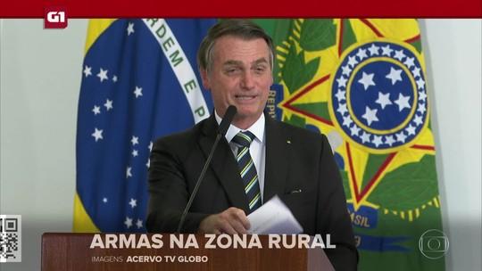 G1 em 1 Minuto: Bolsonaro assina lei que amplia posse de arma na zona rural