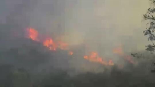 Incêndio consome área perto do Parque Estadual do Desengano, em Santa Maria Madalena, no RJ