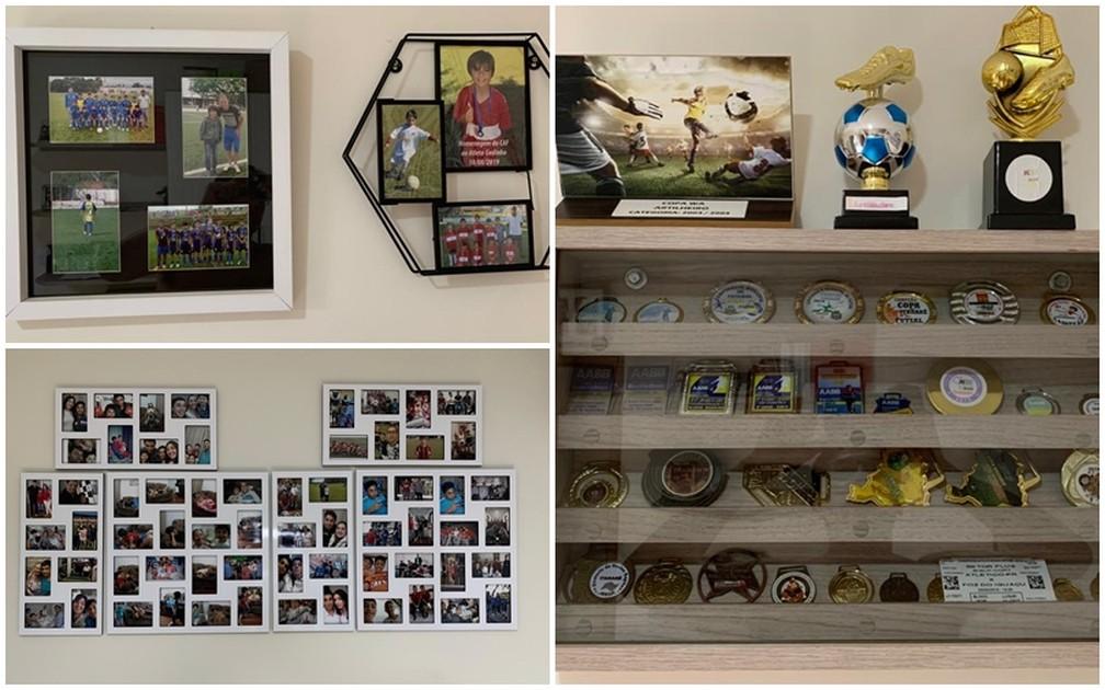 Família montou memorial em quarto com as conquistas de Gedinho, com fotos, troféus e medalhas — Foto: Gedson Fábio Beltrão dos Santos/Arquivo Pessoal