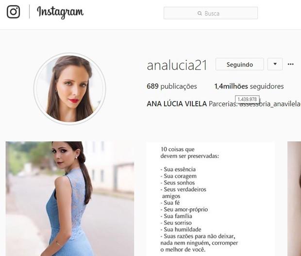 Ana Lúcia Vilela, noiva de Lucas Fernandes (Foto: Reprodução/Instagram)