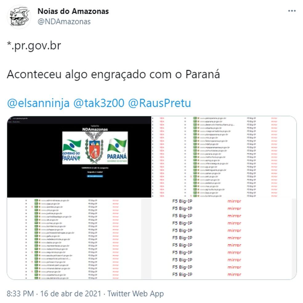 """Tuíte do """"Noias do Amazonas"""" sobre o ataque hacker — Foto: Reprodução"""