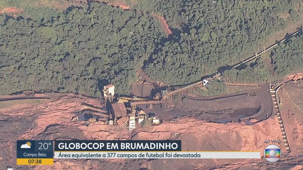 Buscas em Brumadinho nesta quinta (31) — Foto: Reprodução/TV Globo