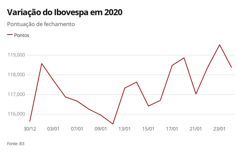 Variação do Ibovespa  em 2020 — Foto: Arte/G1