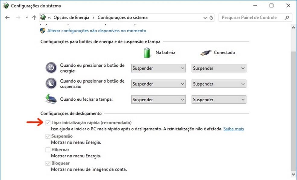 Mudança na configuração de inicialização rápida do Windows 10 (Foto: Reprodução/Raquel Freire)