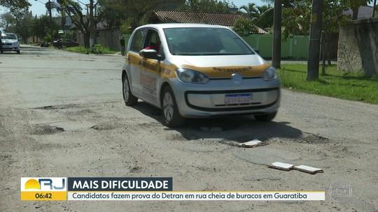 Buracos em circuito do Detran na Zona Oeste do Rio dificultam prova prática para carteira de habilitação