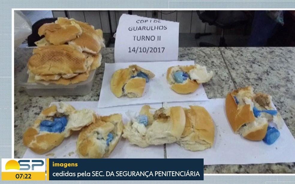Sanduíche de maconha seria entregue aos detentos de CDP na Grande SP (Foto: Reprodução TV Globo)