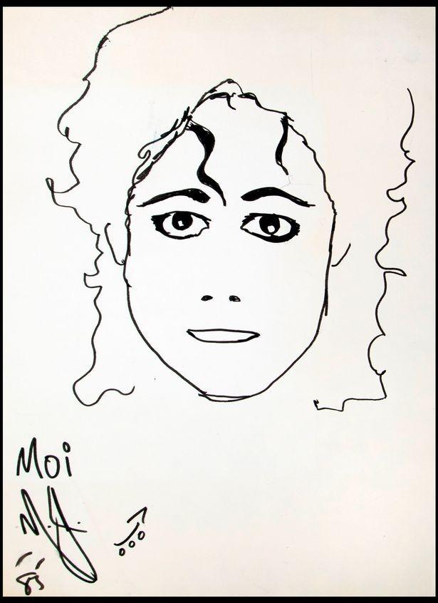 Autorretrato de Michael Jackson feito em 1985 (Foto: Divulgação: Julien's Auctions)