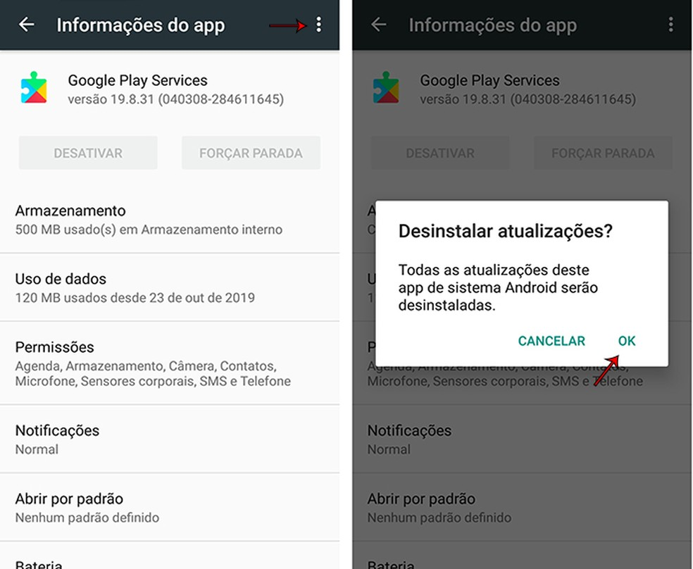 Google Play Services with old version after uninstalling updates Photo: Marcela Franco / TechTudo