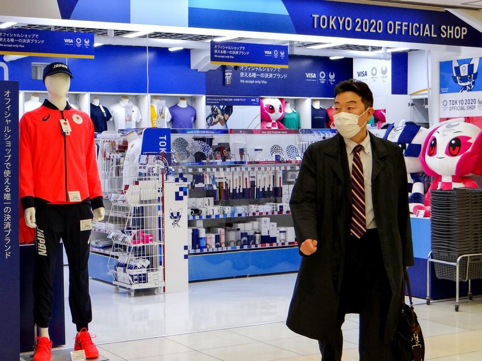 Loja oficial de Tóquio 2020 tem produtos estocados — Foto: Getty Images