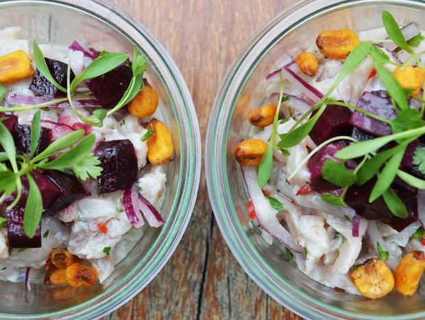 Ceviche com peixe e milho (Foto: Divulgação)