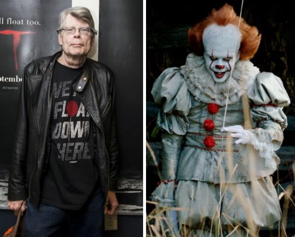 O escritor Stephen King e o palhaço Pennywise de It: A Coisa (Foto: Getty Images/Reprodução)