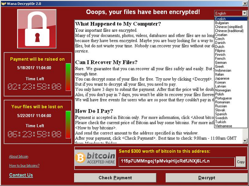 WannaCrypt exigia pagamento de US$ 300 em Bitcoins para devolver arquivos ao usuário (Foto: Divulgação/Symantec)