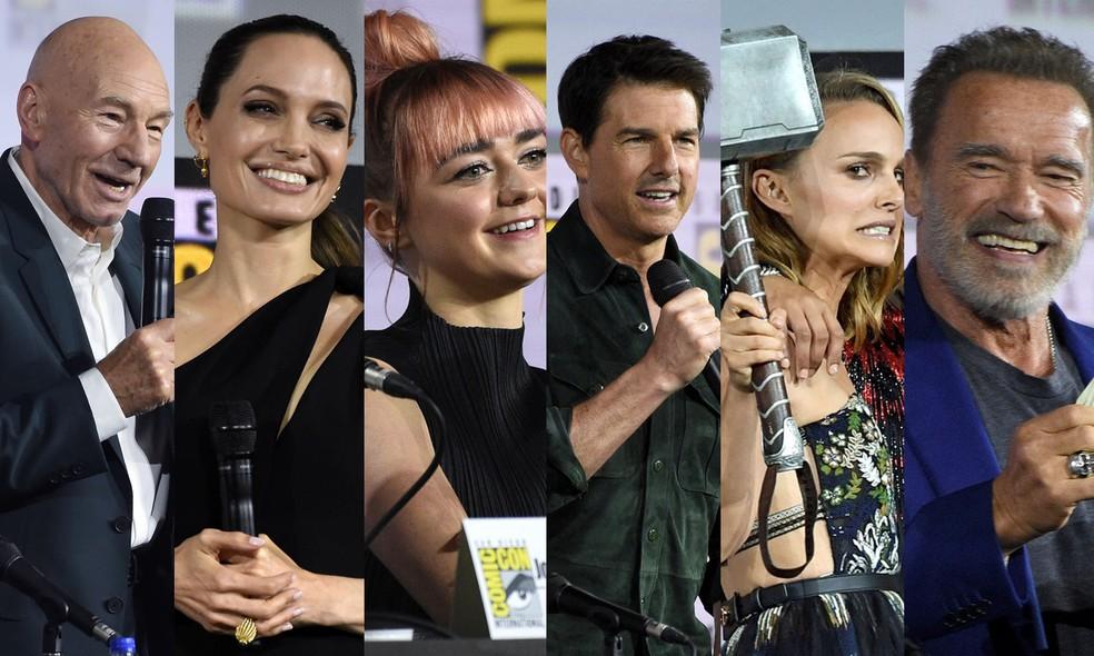 Patrick Stewart, Angelina Jolie, Maisie Williams, Tom Cruise, Natalie Portman e Arnold Schwarzenegger participaram de painéis na Comic-Con San Diego — Foto: Chris Pizzello/AP