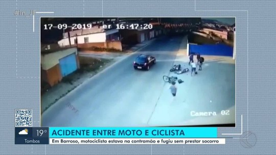 Ciclista fica ferido em colisão frontal com motociclista em Barroso; veja vídeo