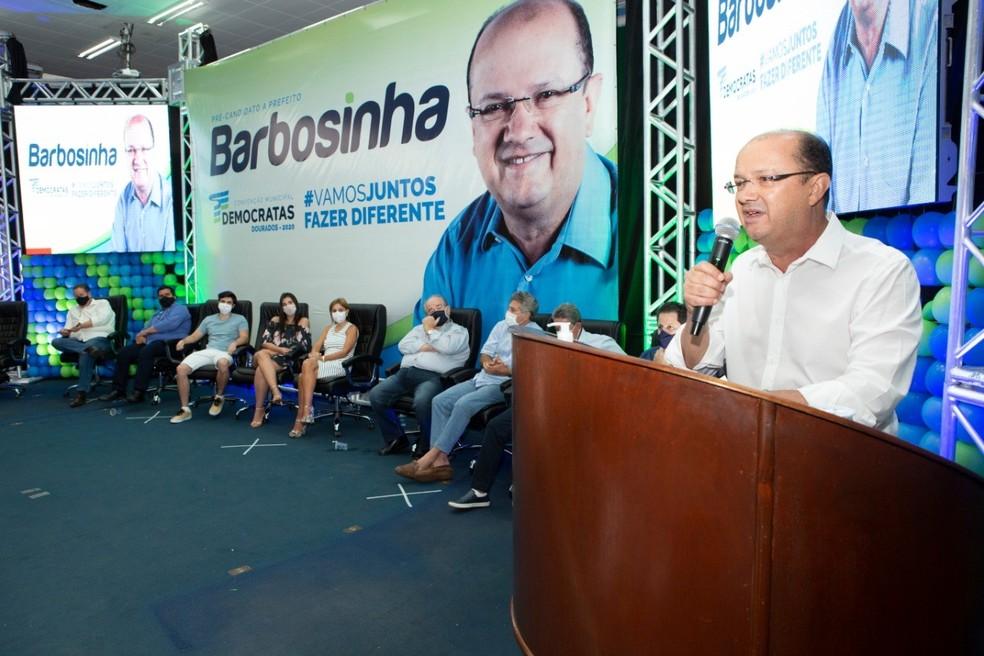 O Partido Democratas (DEM) oficializou no dia 12 de setembro a candidatura de José Carlos Barbosa, o Barbosinha, à prefeitura de Dourados.  Foto: DEM/Divulgação