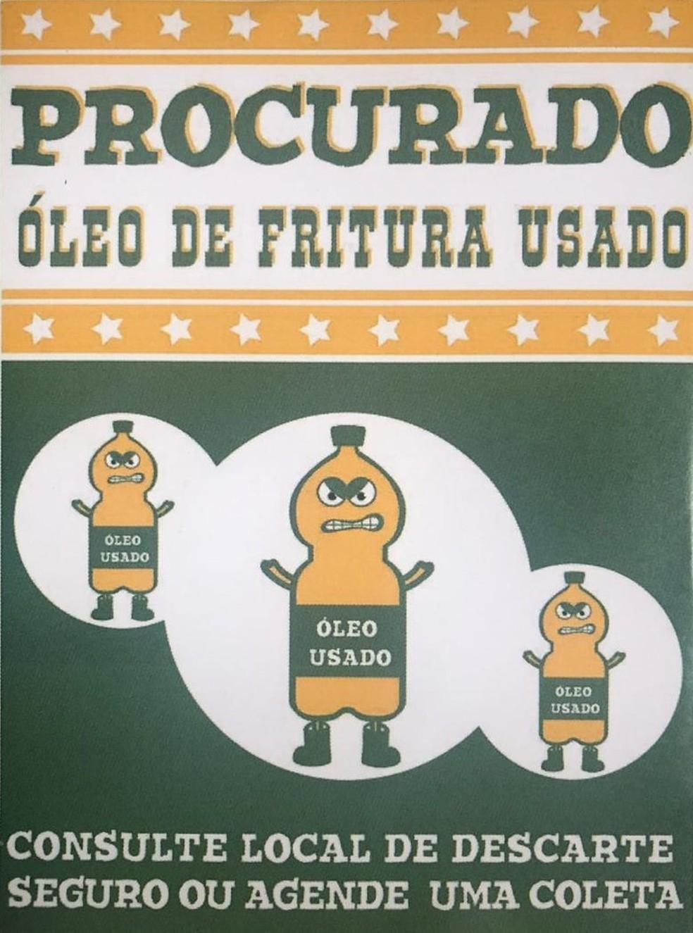 Cartaz para recolhimento do Óleo de fritura usado.  — Foto: Beatriz Magalhães/G1