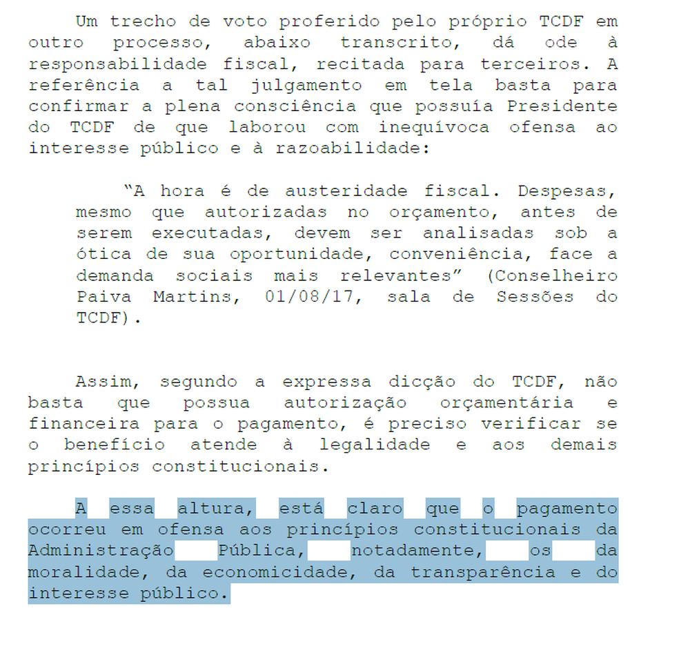 Trecho de ação civil pública do MP contra pagamento de auxílios no TCDF (Foto: Reprodução)