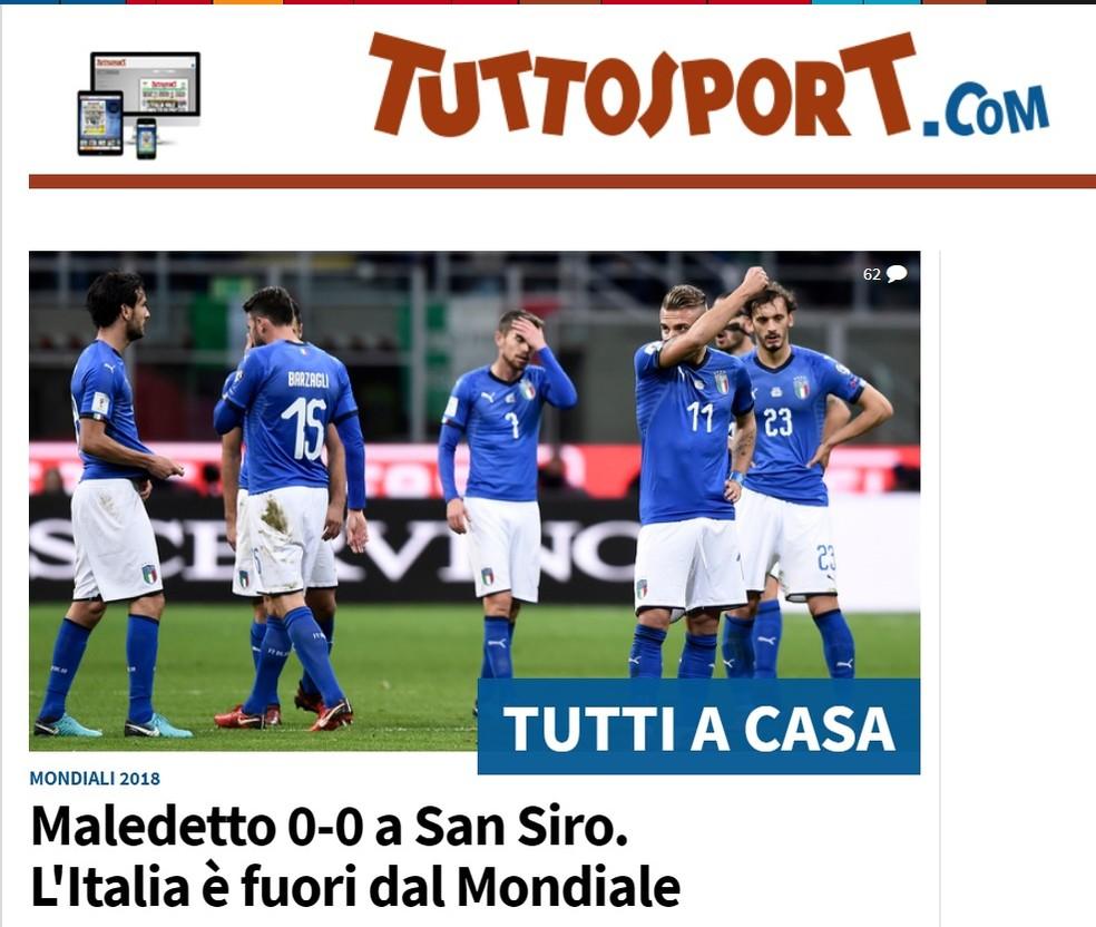 TuttoSport Itália Suécia Copa do Mundo (Foto: Reprodução/TuttoSport)