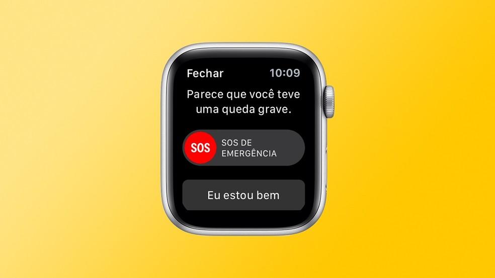 Aviso de queda grave no Apple Watch 5 — Foto: Reprodução/Apple com Arte/TechTudo