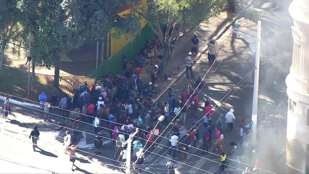Tumulto na região da cracolândia em SP  (Foto: Reprodução/TV Globo)
