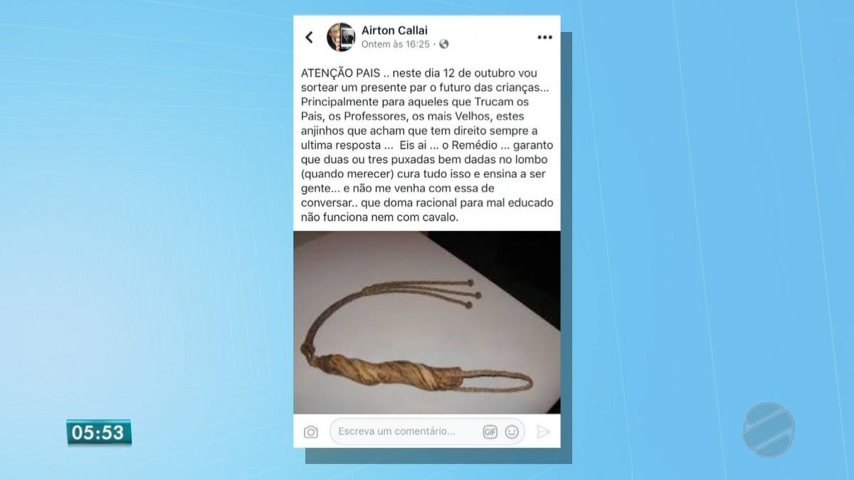 Vereador de MT cria polêmica ao postar foto de chicote no Dia das Crianças: 'puxadas bem dadas no lombo curam'