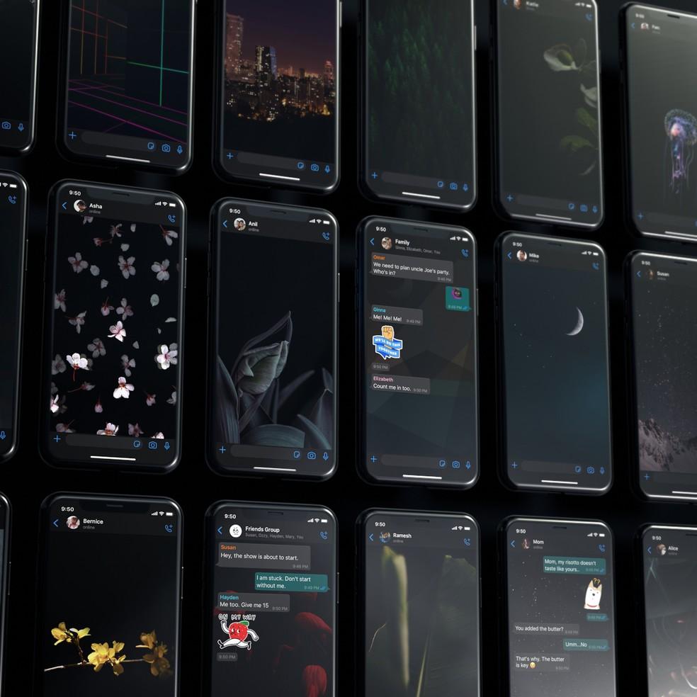 WhatsApp também permitirá usar papeis de parede diferente nos modos claro e escuro — Foto: Divulgação