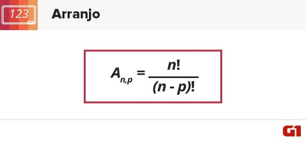 Fórmula de arranjo (Foto: Arte/G1)