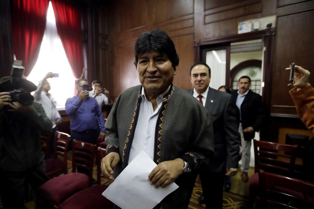 Evo Morales, ex-presidente da Bolívia, participa de coletiva de imprensa no México — Foto: Luis Cortes/Reuters