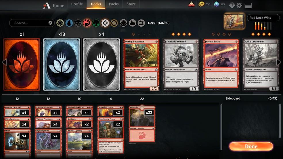 Também dá para criar decks personalizados usando sua coleção de cartas do Magic Arena — Foto: Reprodução/Murilo Molina