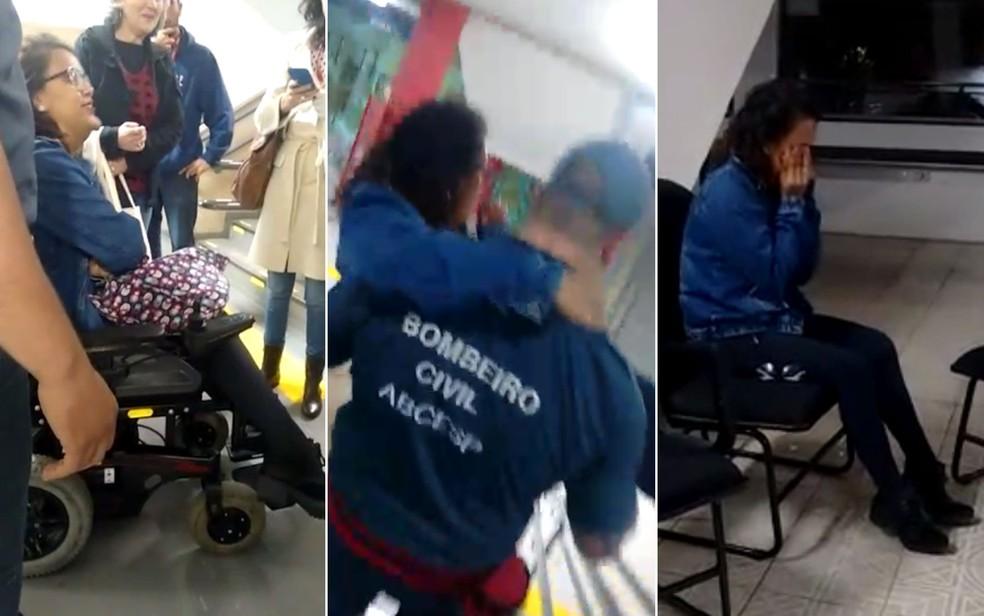 A aluna Paloma Barbosa em frente ao elevador quebrado (à esquerda), precisou ser carregada por um bombeiro até a classe onde teria aula (Foto: Paloma Barbosa/VC no SP)