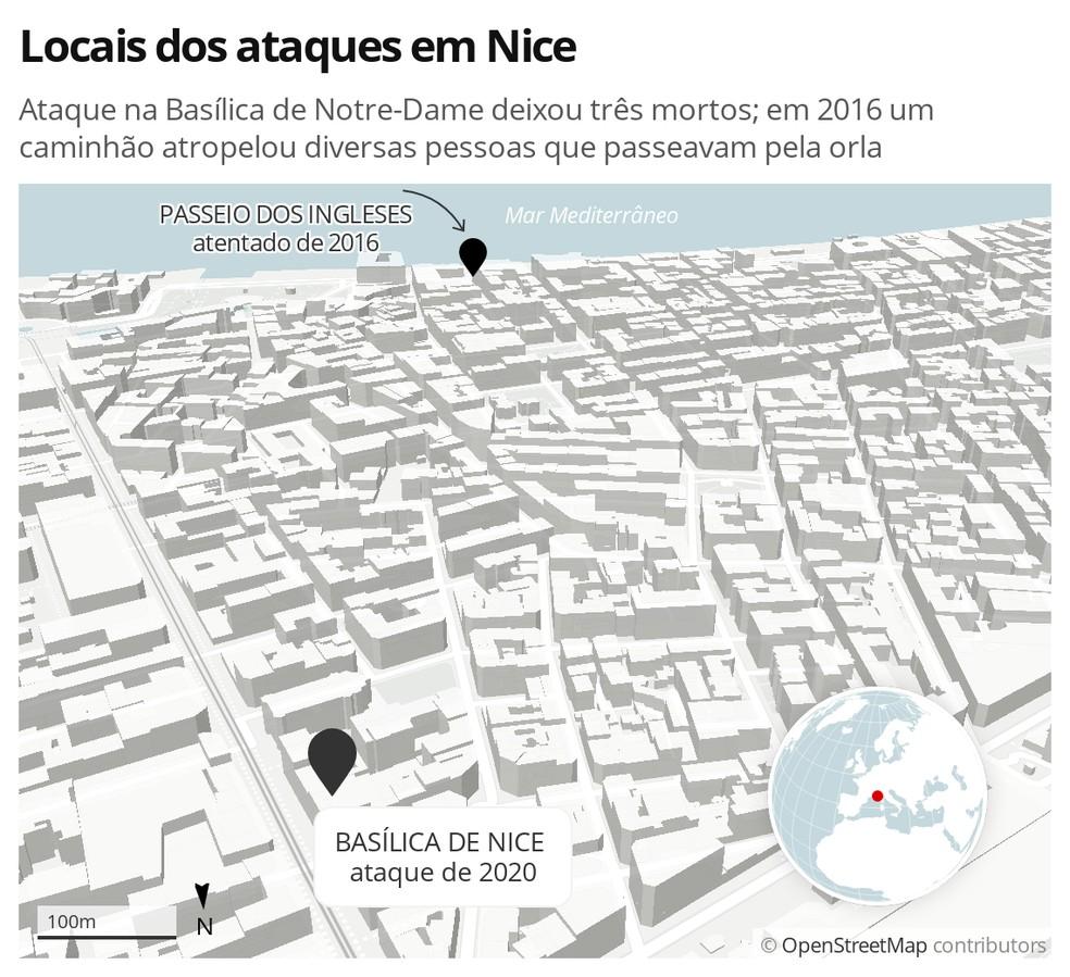 Mapa da cidade de Nice, na França, mostra os locais de dois atentados, o de 2016 e o de 2020 — Foto: G1