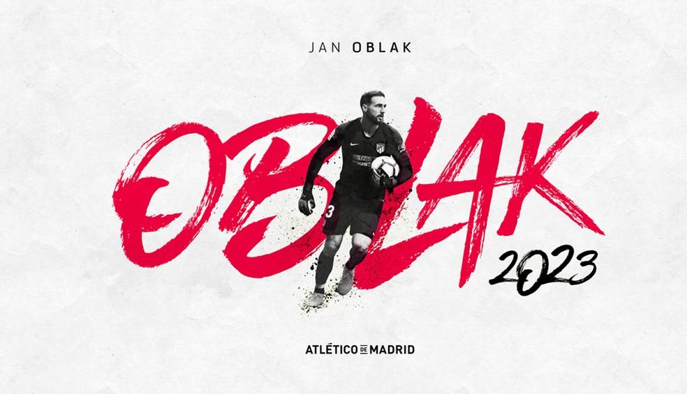 Oblak renova contrato com o Atlético de Madrid até 2023 — Foto: Reprodução