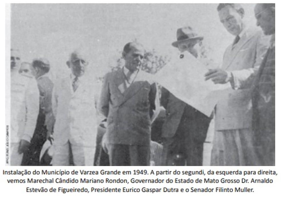 Instalação de Várzea Grande em 1949 — Foto: Reprodução
