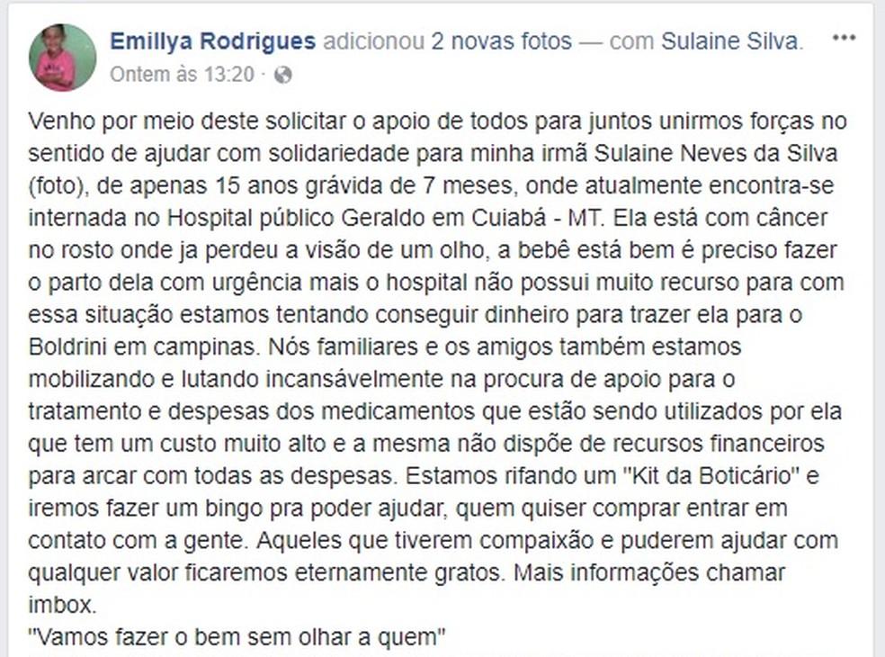 Irmã da adolescente fez um post no Facebook, pedindo por ajuda (Foto: Reprodução/Facebook)
