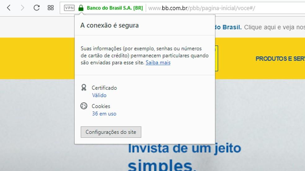 Verifique se a conexão é segura antes de inserir seus dados bancários na internet — Foto: Reprodução/Tais Carvalho
