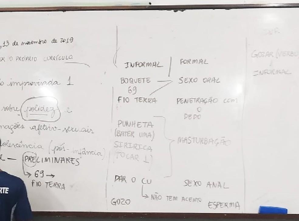 Professor do DF usou quadro branco para escrever expressões de sexo explícito — Foto: TV Globo/ Reprodução