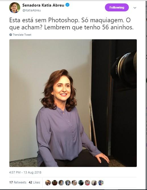 Kátia Abreu no Twitter (Foto: reprodução/twitter)