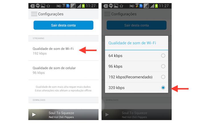 Configurando a qualidade máxima de áudio no streaming via Wi-Fi do Rdio para Android (Foto: Reprodução/Marvin Costa)
