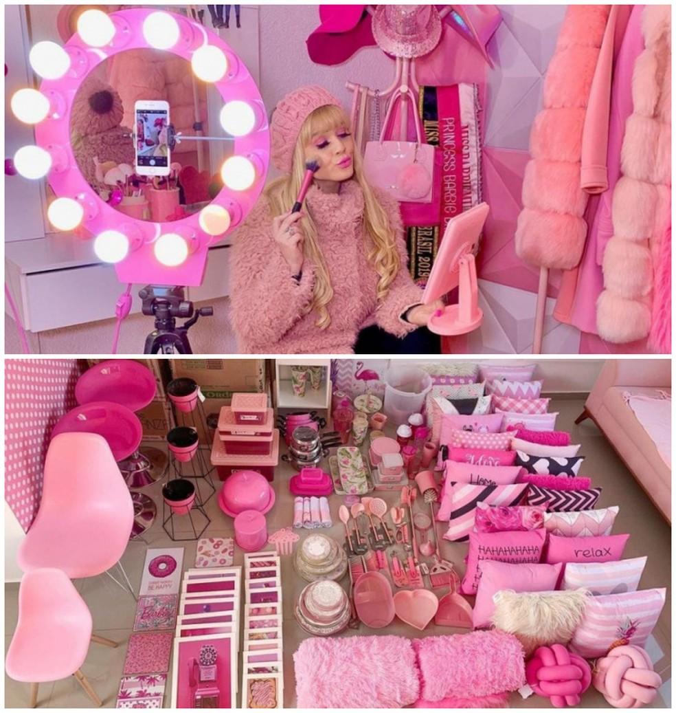 """A paranaense ganha centenas de """"recebidos"""" de marcas, lojas e dos fãs — Foto: Arquivo pessoal/Bruna Barbie"""
