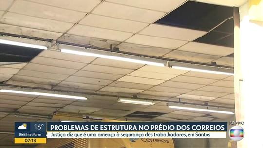 Prédio dos Correios de Santos tem problemas de estrutura
