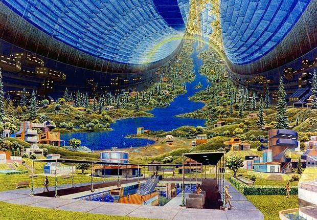 Interior das Colônias Toroidais (Foto: Don Davis/NASA Ames Research Center)