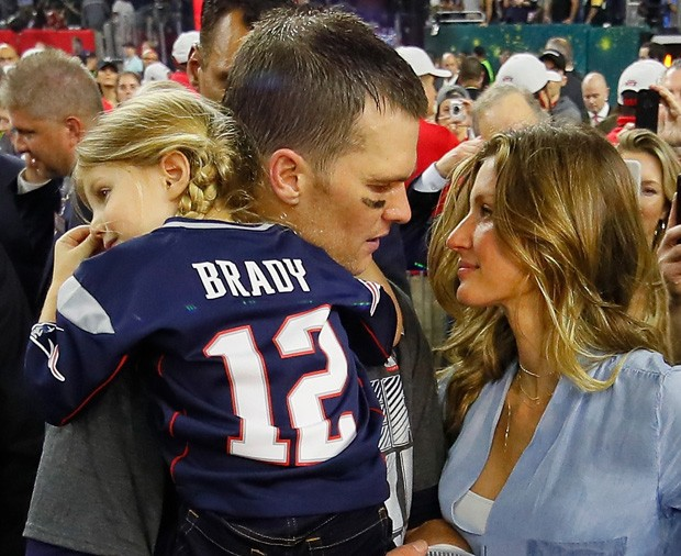 Gisele Bündchen e Tom Brady com Vivian (Foto: Getty Images)