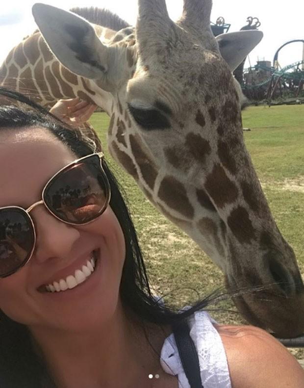 Graciele Lacerda com um girafa (Foto: Reprodução Instagram)
