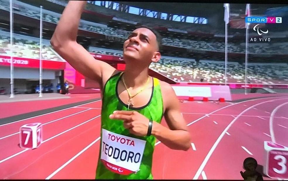 Kesley Teodoro na competição dos 100m rasos da classe T12 — Foto: Redes Sociais/Reprodução