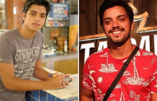 A Rodrigo Simas coube o papel de Leandro, filho de Dagmar (Cris Vianna). A trama marcou sua estreia em novelas da Globo. No ano passado, o ator esteve em 'Órfãos da terra' (Foto: TV Globo e reprodução)