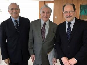 Sartori se reuniu com Padilha e com Temer em Brasília (Foto: Divulgação`/Palácio do Planalto)